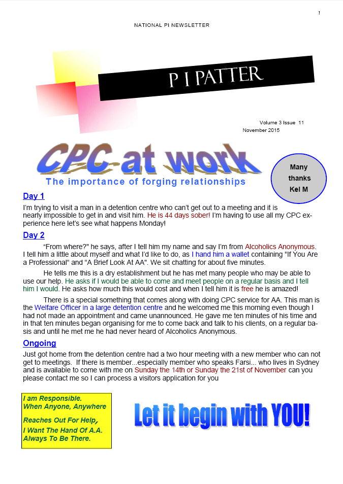 PI Patter Newsletter November 2015